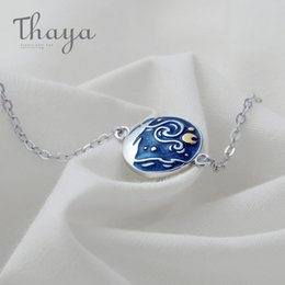 jewelry enamel painting Australia - Thaya Van Gogh Enamel Cloisonne Plated Bracelet Star Moon Night Oil Painting S925 Silver Bracelet Jewelry For Women Gift T190701
