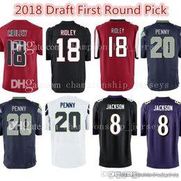 15b3ee44c 2018 Draft First Round Pick 8 Lamar Jackson 20 Rashaad Penny Jersey 18  Ridley Atlanta Baltimore Seattle Raven Falcon Seahawk Jerseys