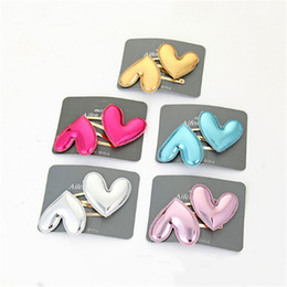 Hair Clip For Kids Barrette Australia - 1 Pair Girls Cute Glossy Heart Hair Clips Barrettes Cute Hairpins BB Clips For Children Headwear Kids Hair Accessories Dropship