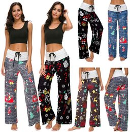 Wholesale wide leg yoga pants plus size for sale – dress Women Christmas print Wide Leg Pants Casual Yoga Fitness home Loose trousers Drawstring Patchwork High Waist Pants plus size Xmas gifts