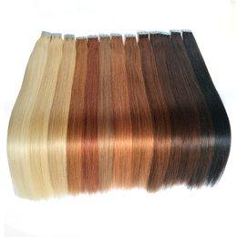 Venta al por mayor de La mejor cinta de trama de piel en extensiones de cabello humano 100% peruano recto remy de cabello humano 18