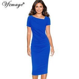 AsymmetricAl neckline dress sleeves online shopping - Vfemage Women Asymmetric Neckline Elegant Modest Ruched Draped Work Office Casual Party Bodycon Sheath Vestidos Dress Q190417
