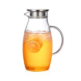 hand water bags Australia - 1.8l Explosion-proof Heat-resistant Glass Water Jug Hotel Restaurant Breakfast Juice Glass Bottle With Stainless Steel Lid Y19070303