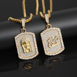 Dog Plates Australia - Factory direct Dog tag necklace Crystal rhinestone Hip hop gold pendant necklace Alloy material gold plated Dog tag pendant jewelry