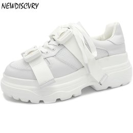 sneakers size 42 Australia - NEWDISCVRY Genuine Leather Platform Sneakers Women 2019 Fashion Chunky Walking Women's Dad Trainers Woman Shoes Plus Size 42 Y200108