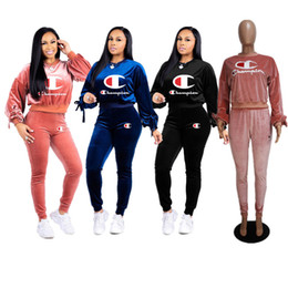 $enCountryForm.capitalKeyWord Australia - Newest Champion Velvet Tracksuits Designer Women Two Piece outfits Crop Hoodie Tops and Pants Set Velour Sweatsuit Sportswear Clothing C8204
