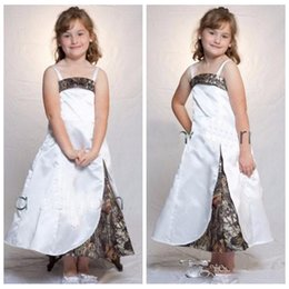 white silver kids dress NZ - Spaghetti A-Line White Satin Camo Flower Girls Dresses Ankle Length Custom Kids Camouflage Formal Party Gowns 2019 Cheap