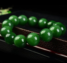 $enCountryForm.capitalKeyWord Australia - Hetian Biyu bracelets beads bracelets natural A goods Taiwan Sapphire bracelets men and women models spinach green single circle beads