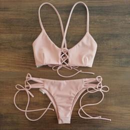 $enCountryForm.capitalKeyWord NZ - Bikinis Low Waist Swimwear Sets Sexy Women Micro mini G-String Brazilian bikini swimwear micro triangle bra top halter ties summer beach