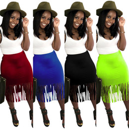 wholesale plus size clothes Australia - Women Plus Size Tassel Skirts Solid Color Short Dresses Bodycon Sexy Party Skirts S-3XL Nightclub Clothing Clubwear 1210