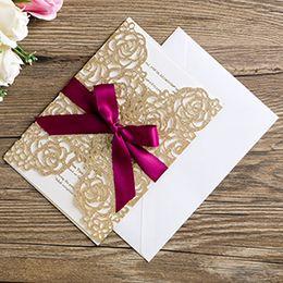 Golden weddinG invitations cards online shopping - New Wedding Invitation Card Glitter Golden Bow Envelope Inner Page Ribbon Cover Set Wedding Invitation Cards