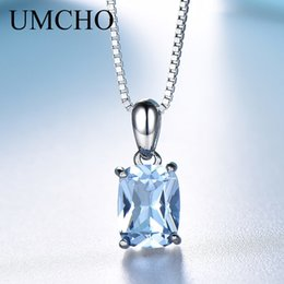 Topaz Pendants Australia - UMCHO Solid 925 Sterling Silver Pendants For Women Rectangle Luxury Sky Blue Topaz Engagement Wedding Pendant Charm With Chain J190523
