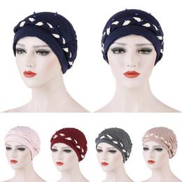 Braiding hair cap online shopping - Women Muslim Turban Hat Beads Braid Head Wrap Cover Cancer Chemo Cap Beanie Hat Islamic Bonnet Hair Loss Arab India New