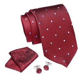 cufflink knots UK - New Paisley Neck Tie Red Blue Gravatas Hanky Cufflinks Set 100% Handmade Silk Ties for Men Fashion Floral Necktie Corbata