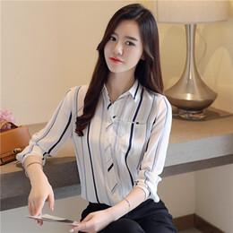 25b30eec418 2019 мода Женская OL рубашка с длинным рукавом отложным воротником кнопка  Леди блузка топы белый синий с длинным рукавом блузка
