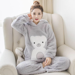 $enCountryForm.capitalKeyWord Australia - JULY'S SONG Woman Flannel Pajamas Winter Pajama Sets Pink Cute Cartoon Animal Pajamas Thick Sleepwear Woman Casual Homewear
