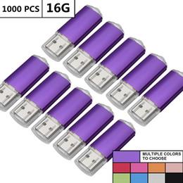 Flash Memory Drive 16gb Australia - LOT 1000PCS 16GB USB Flash Drive Rectangle Thumb Pen Drive Memory Sticks Pen Storage LED Indicator for Computer Laptop Tablet Multicolors