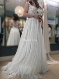 $enCountryForm.capitalKeyWord Australia - 2019 Gorgeous Lace Wedding Dresses V-Neck A Line Sweep Train Country Beach Bridal Gowns Appliques Castle Chapel Plus Size Vestidoe De Noiva