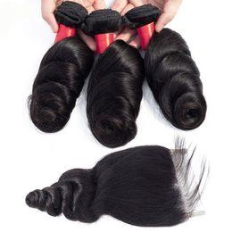 $enCountryForm.capitalKeyWord Australia - Wholesale Brazilian Loose Wave Hair Bundles Cheap 9A Peruvian Indian Malaysian Human Hair Extension Loose Wave With 4x4 Lace Closure