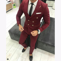 $enCountryForm.capitalKeyWord Australia - New Burgundy Men Suit For Wedding Custom Slim Fit Double Breasted Bridegroom Men Suits Causal Prom Groom Terno 2 Pieces
