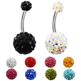 $enCountryForm.capitalKeyWord Australia - 9 Colors Crystal Disco Ball 316L Stainless Steel Jewelry Navel Bars Silver Belly Button Ring Navel Body Piercing Jewelry