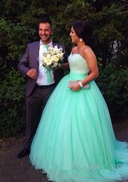 $enCountryForm.capitalKeyWord Australia - 2019 Mint Bodic Prom Dresses Sequins Beads Charming Gowns With Ball Gown Sweetheart Neck Long Tulle Pageant Evening Gowns Custom Dresses