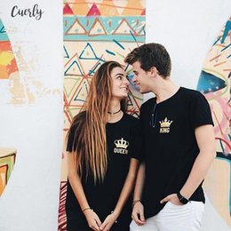 Wholesale king and queen t shirt online – design Valentines Gift Funny Couple T Cotton Shirts King And Queen Love Matching Tees Tops Outfits For Him And Her