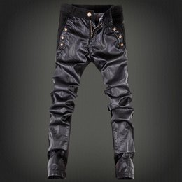 YASUGUOJI New 2019 Punk Style Fashion Button Decorative Pu Leather Patchwork Streetwear Skinny Jeans Men Black Pencil Pants Men