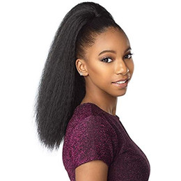 human hair ponytail UK - human hair ponytail hairpieces clip in 20inch yaki straight hair 140g drawstring ponytail hair extension for black women