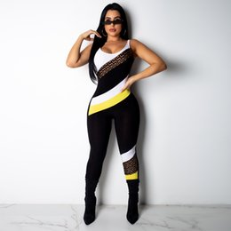 Color Letters Leggings NZ - Women Patchwork Jumpsuit Summer Sleeveless Backless One-piece Leggings Sports Fitness Vest Tracksuit Brand Letter Jumpsuit Clubwear B3122