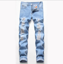 ripped jeans big size NZ - Big Size Mens Classic Straight Leg Ripped Jeans Fashion Designer Slim Fit Washed Solid Hole Biker Hip Hop Denim Pants JB2