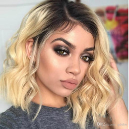 $enCountryForm.capitalKeyWord Australia - Blonde Bob Lace Front Wig Color Ombre Virgin Peruvian Prepluced Glueless Full Lace Human Hair Short Wavy Bob Wig For White Women