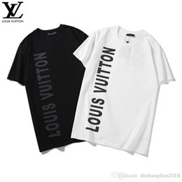 T Shirts Materials NZ - New fashion Designers men's T-shirts European and American world high quality reflective printing material black and white two-color sh