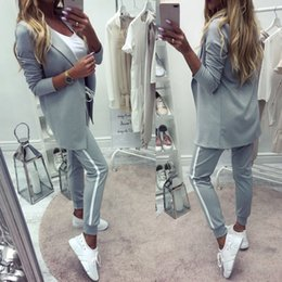 $enCountryForm.capitalKeyWord NZ - Taotrees Women's Sports Suit Spring Tracksuit Female Lapel Blazer Jacket+pant Two Piece Outfits J190616