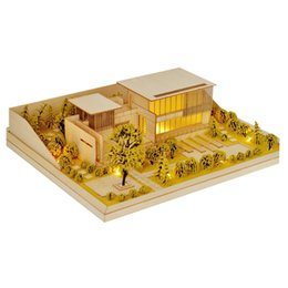 model house kit diy UK - DIY Villa Model Kit Sand Table Architecture Assembly House Kit with or without Light Sand Model Building Kit