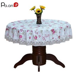floral table covers 2019 - Pastoral Round Table Cloth Plastic Waterproof Oilproof Table Cover Floral Printed Lace Edge Anti Hot Coffee Tea Tableclo