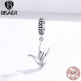 Wholesale rock roll signs online – design rock sign pendant bisaer Sterling silver rock and roll pendant original charms for jewelry making ECC1438