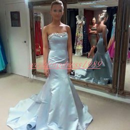 Cheap stunning evening dresses online shopping - Stunning Beads Mermaid Evening Dresses Satin Crystal Sky Blue African Party Formal Plus Size Special Occasion Prom Dress Pageant Gowns Cheap