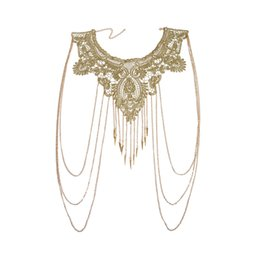 Women bikini body chain online shopping - Women Gold Tassels Bikini Crossover Harness Waist Belly Body Chain Necklace Flower Floral Guipure Collar Lace Trim Embroidered