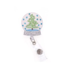 african american christmas tree 2021 - 10pcs lot free shipping Enamel Rhinestone Christmas Tree Retractable Badge Reel Crystal Ball ID Badge Holder Christmas G
