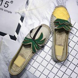 $enCountryForm.capitalKeyWord Australia - Shoe Flats Pineapple Canvas Espadrilles Womens Summer Fishermans Breathable Straw Cute Round Toe Hemp Cheap Designer Slip On