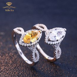 bride engagement rings Australia - Fashion Women 925 Sterling Silver Ring White Yellow Gem Water Crystal Drop Jewelry Engagement Bride Wedding Gift Ring