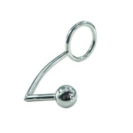 Ball Anal Ring Australia - 40mm,45mm,50mm for choose Stainless Steel butt plug ball anal hook with penis ring fetish cock chastity device sex toys for men Y18110402