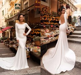 Mermaid Wedding Dresses Prices Australia - Simple White 2019 Cheap Wedding Reception Dress Open Back With Long Sleeves Satin Court Train Discount Price Vestidos Do Novia Wedding Dress