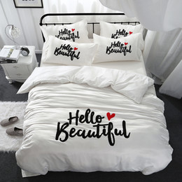 Beautiful Modern Bedding Australia - Girls women beautiful bedding set king queen size bed linen Cotton imitate silk white color thick embroidered bedclothes