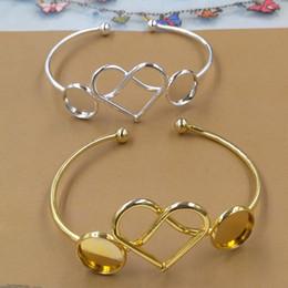 $enCountryForm.capitalKeyWord NZ - Fit 12MM DIY silver heart blank cuff bangle base jewelry fashion metal gold cuff bracelet tray wristband setting for women girl