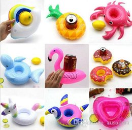 Inflatable Bath Kids NZ - Inflatable Toy Drinks Cup Holder Watermelon Swan unicorn Pool Floats Coasters Flotation Devices For Kid Children Pool parties Bath Toy