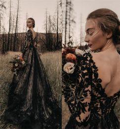 Wholesale v neck t shirts images for sale – custom Gothic Full Black Long Wedding Dresses A Line Long Sleeves V Neck Court Train Vintage Bridal Gowns Plus Size Wedding Wear