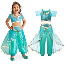 bf851a1144f0 Girls Aladdin's Lamp Jasmine Dress Up Costumes Children Halloween Belly  Dance Dresses Arabian Indian Princess Cosplay Costume Q190522