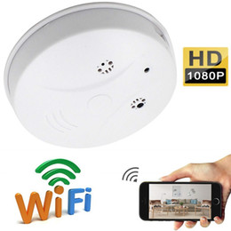 wholesale smoke detector wifi camera NZ - WiFi Smoke Detector P2P IP camera HD 1080p smoke detector mini camera Audio Video Recorder home security monitor camera Support TF card